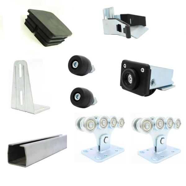 Set of accessories for sliding gates for 450 kg, with a galvanized tire